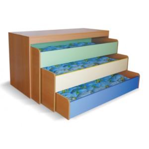 Кровать детская трехъярусная выкатная для садиков, в тумбе