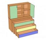 Кровать детская трехъярусная выкатная для сада, со шкафом