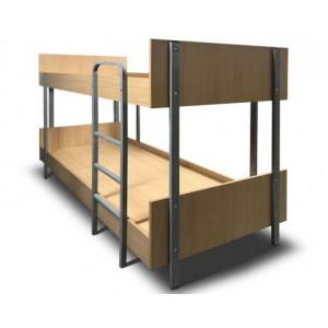 """Кровать двухъярусная металлическая """"Хостел"""", с лестницей"""