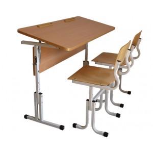 Парта школьная регулируемая по высоте и наклону двухместная