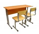 Парта и стулья школьные, ученические, двухместный комплект