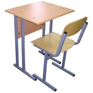 Парта и стул школьные, с регулировкой по высоте (растущий комплект), одноместный