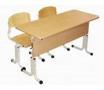 Парта и стул школьные, с регулировкой по высоте (растущий комплект), двухместный