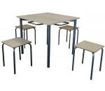 Обеденная зона для школьной столовой, 4-местная, квадратная (стол +4 табурета)