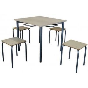Стол для столовой в школу, квадратный 4-местный