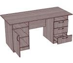 Стол письменный однотумбовый, 3 ящика и ниша